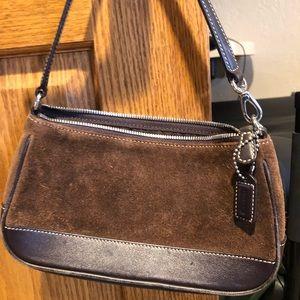 Coach brown suede handbag shoulder purse bag